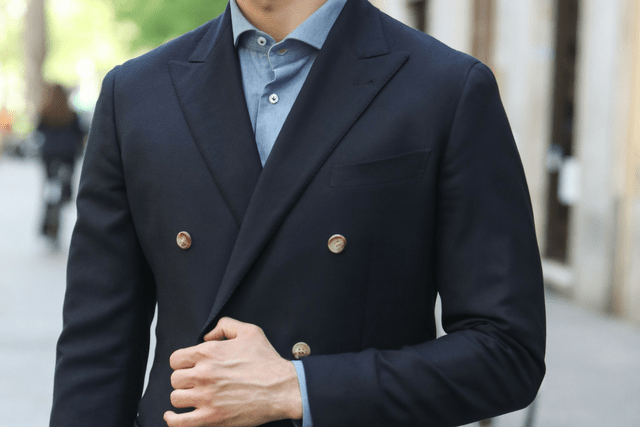 double-breasted blue jacket