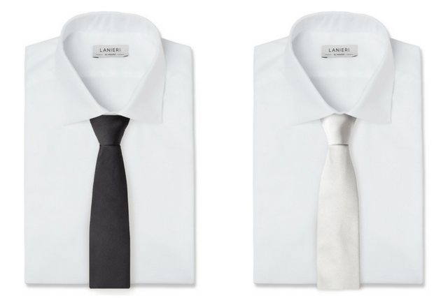 Cravatta Cerimonia Nero Seta (sinistra), Cravatta Cerimonia Argento Seta (destra)