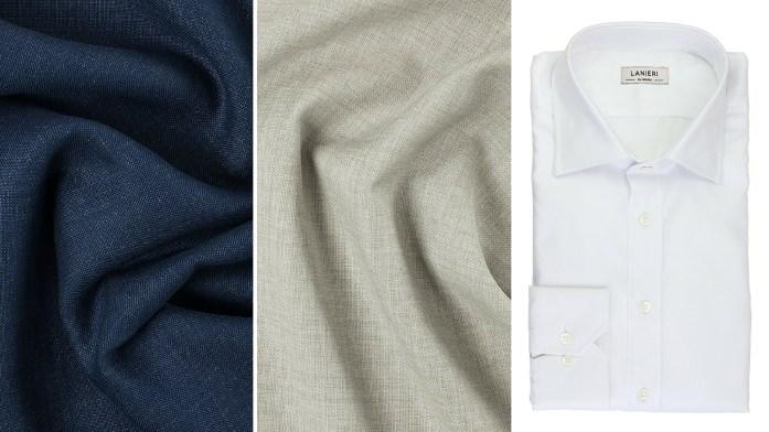 Veste Lin Mohair Bleu | Pantalon Laine Lin Havane | Chemise Icon Blanc Popeline