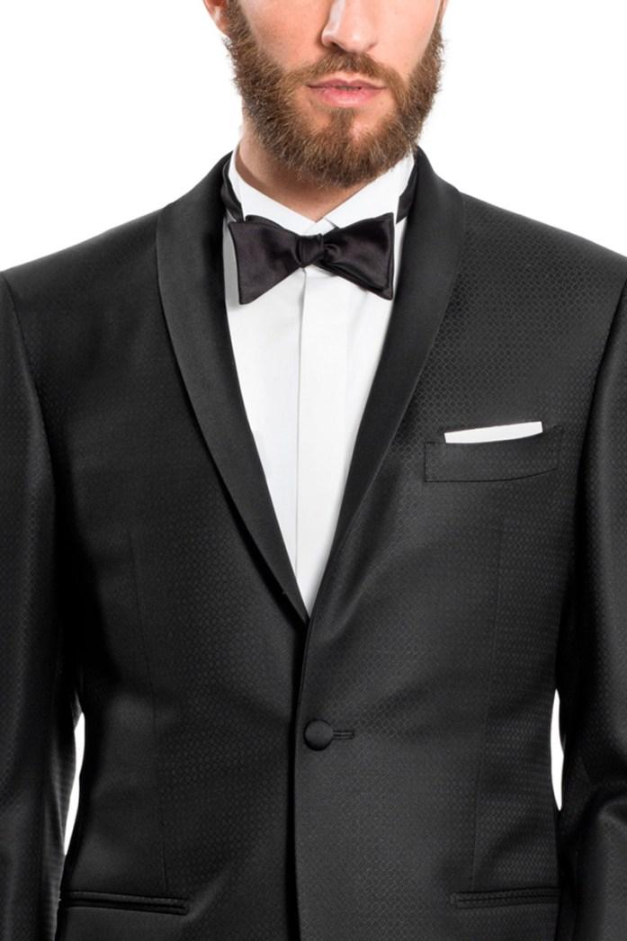 Shawl collar on black tuxedo