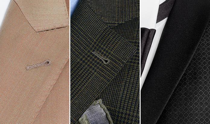 Tre tipologie di revers: a lancia, classico e a scialle