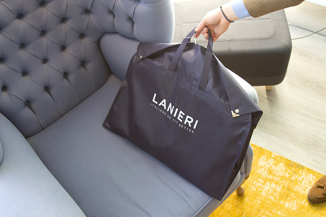 Groom's suits bag packed at Atelier Lanieri