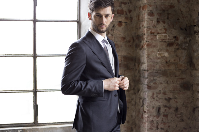 Custom gray suit for wedding with light waistcoat