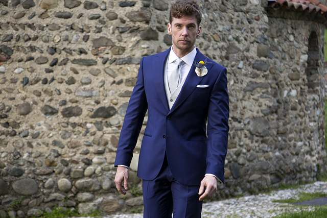 Blue tailored suit for groom with Lanieri contrast ivory waistcoat