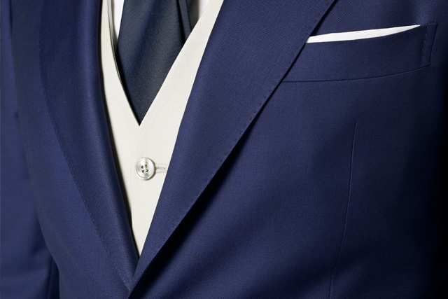 Detail of a waistcoat under a Lanieri groom suit