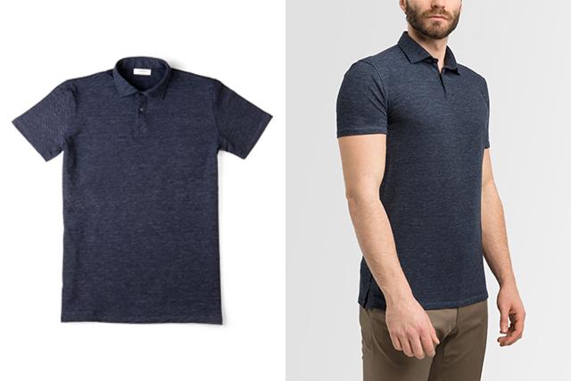 Polo Lanieri: à gauche, un polo bleu melange avec col chemise et manches courtes; à droite le même polo porté