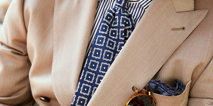 A chic look: Solaro suit, fancy tie and striped shirt