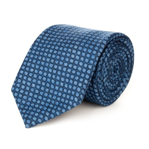 Blue winter tie with checked pattern made with a wool fabric by Lanieri