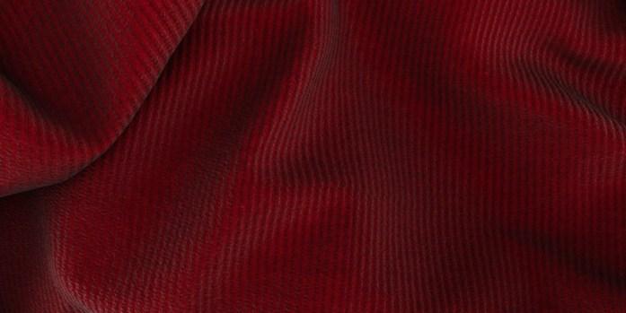 Dettaglio tessuto 100% cotone rosso mattone in velluto a coste Lanieri