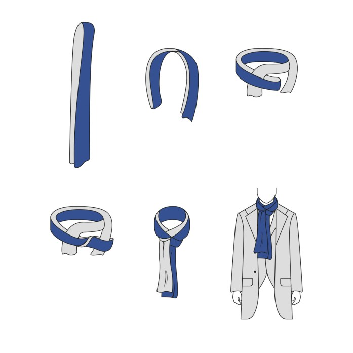 Four in hand knot for scarf: infographic step by step