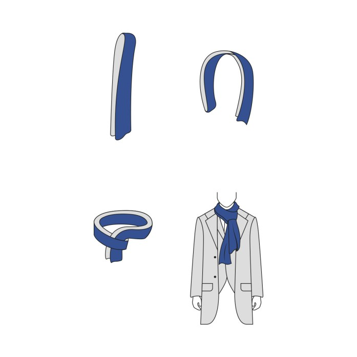 Parisian knot for scarf: infographic step by step