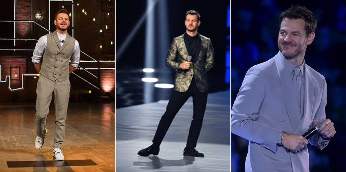 Alessandro Cattelan in tre diversi outfit