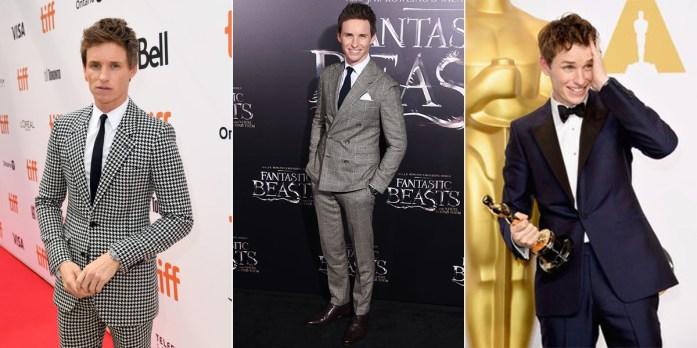 Eddie Redmayne in tre diversi outfit