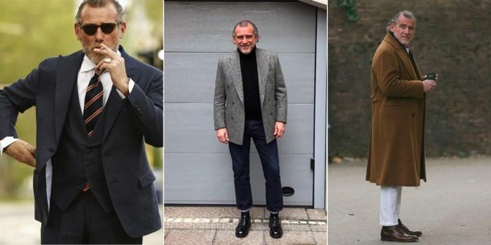 Alessandro Squarzi in tre diversi outfit
