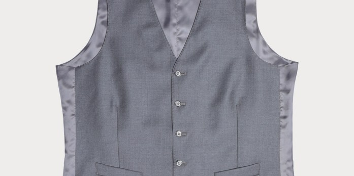 Gray single-breasted vest with four buttons