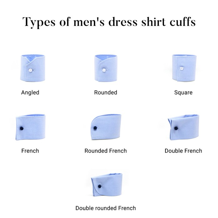 Types of men's dress shirt cuffs