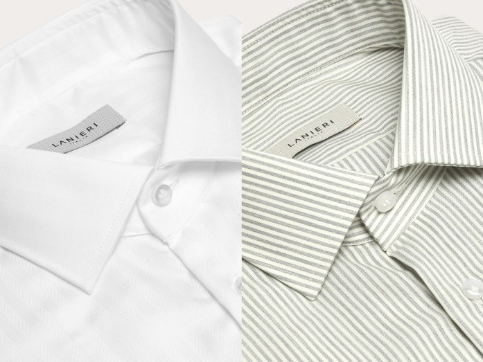 On the left a white cotton shirt, on the right a gray stretch striped merino wool shirt