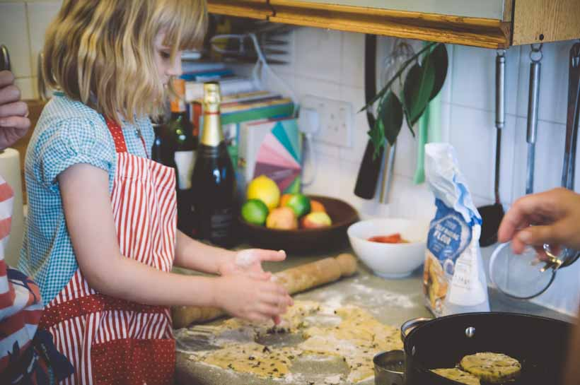 child baking welsh cakes