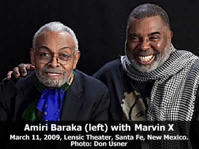 Amiri Baraka (left) read from his work and joined in conversation with Marvin X at the Lensic Theater in Santa Fe, New Mexico, Wednesday, March 11, 2009. Photo: Don Usner