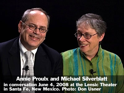 Annie Proulx in conversation with Michael Silverblatt at the Lensic Theater in Santa Fe, New Mexico, Wednesday, June 4, 2008. Photo: Don Usner