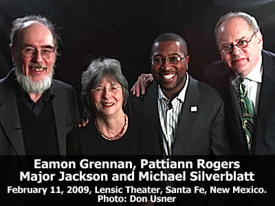 Eamon Grennan, Pattiann Rogers, Major Jackson and Michael Silverblatt at the Lensic Theater in Santa Fe, New Mexico, Wednesday, February 11, 2008. Photo: Don Usner