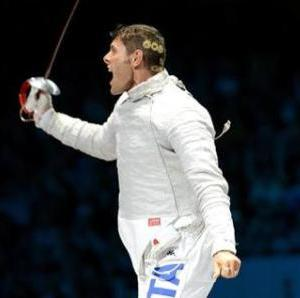 Aldo Montano of Italy celebrates his victory and bronze medal during the Men's Team Sabre Fencing Bronze medal match for the London 2012 Olympic Games in London, Britain, 03 August 2012. ANSA/CLAUDIO ONORATI