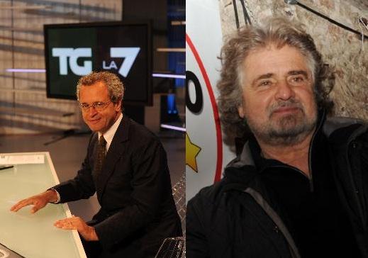 Beppe Grillo su La7 ospite di Enrico Mentana