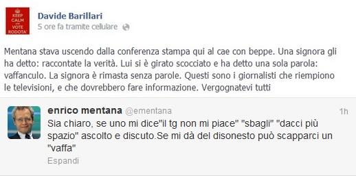 """Enrico Mentana e il """"vaffa"""" a un'attivista 5 Stelle"""
