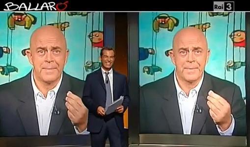 Maurizio Crozza e Giovanni Floris durante la puntata di Ballarò