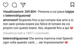 Foto commento di Belen sotto la foto di Alessandra Amoroso