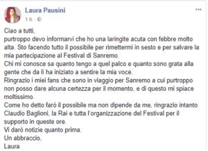 Foto post FB di Laura Pausini su Sanremo 2018