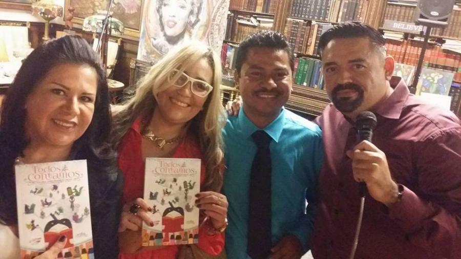 La maquillista Ana Mercedes Medina, Marisol Casola, Francisco Gómez y José Guerrero.