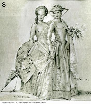 2-Cosi fan tutte di Mozart, 1981. Figurini di Pagano per Dorabella e Fiordiligi