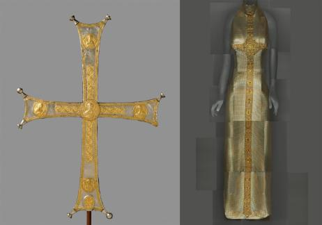"Heavenly Bodies: Fashion and the Catholic Imagination"" Left: Processional cross, Byzantine, c. 1000–1050, silver, silver gilt; right: Evening Dress, Gianni Versace for Versace, Fall 1997–98 Photos: The Metropolitan Museum of Art, Rogers Fund, 1993 (1993.163) / ©The Metropolitan Museum of Art; The Metropolitan Museum of Art, Gift of Donatella Versace, 1999 (1999.137.1) / Image courtesy of The Metropolitan Museum of Art, Digital Composite Scan by Katerina Jebb"