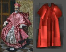 "Heavenly Bodies: Fashion and the Catholic Imagination"" Left: Follower of Lippo Memmi, Saint Peter, mid-14th century, tempera on wood, gold ground; right: Evening Dress, Elsa Schiaparelli, Summer 1939 Photos: The Metropolitan Museum of Art, Robert Lehman Collection, 1975 (1975.1.15) / © Metropolitan Museum of Art; Brooklyn Museum Costume Collection at The Metropolitan Museum of Art, Gift of the Brooklyn Museum, 2009; Gift of Arturo and Paul Peralta-Ramos, 1954 (2009.300.1185a, b) / Image courtesy of The Metropolitan Museum of Art, Digital Composite Scan by Katerina Jebb"