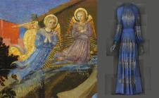 """Heavenly Bodies: Fashion and the Catholic Imagination"""" Left: Attr. to Zanobi Strozzi, The Nativity (detail), c. 1433–34, tempera and gold on wood; right: Evening Dress, Jeanne Lanvin for Lanvin, 1939 Photos: The Metropolitan Museum of Art, Gift of May Dougherty King, 1983 (1983.490) / © Metropolitan Museum of Art; The Metropolitan Museum of Art, Gift of Mrs. Harrison Williams, Lady Mendl, and Mrs. Ector Munn, 1946 (C.I.46.4.17a–c) / Image courtesy of The Metropolitan Museum of Art, Digital Composite Scan by Katerina Jebb"""