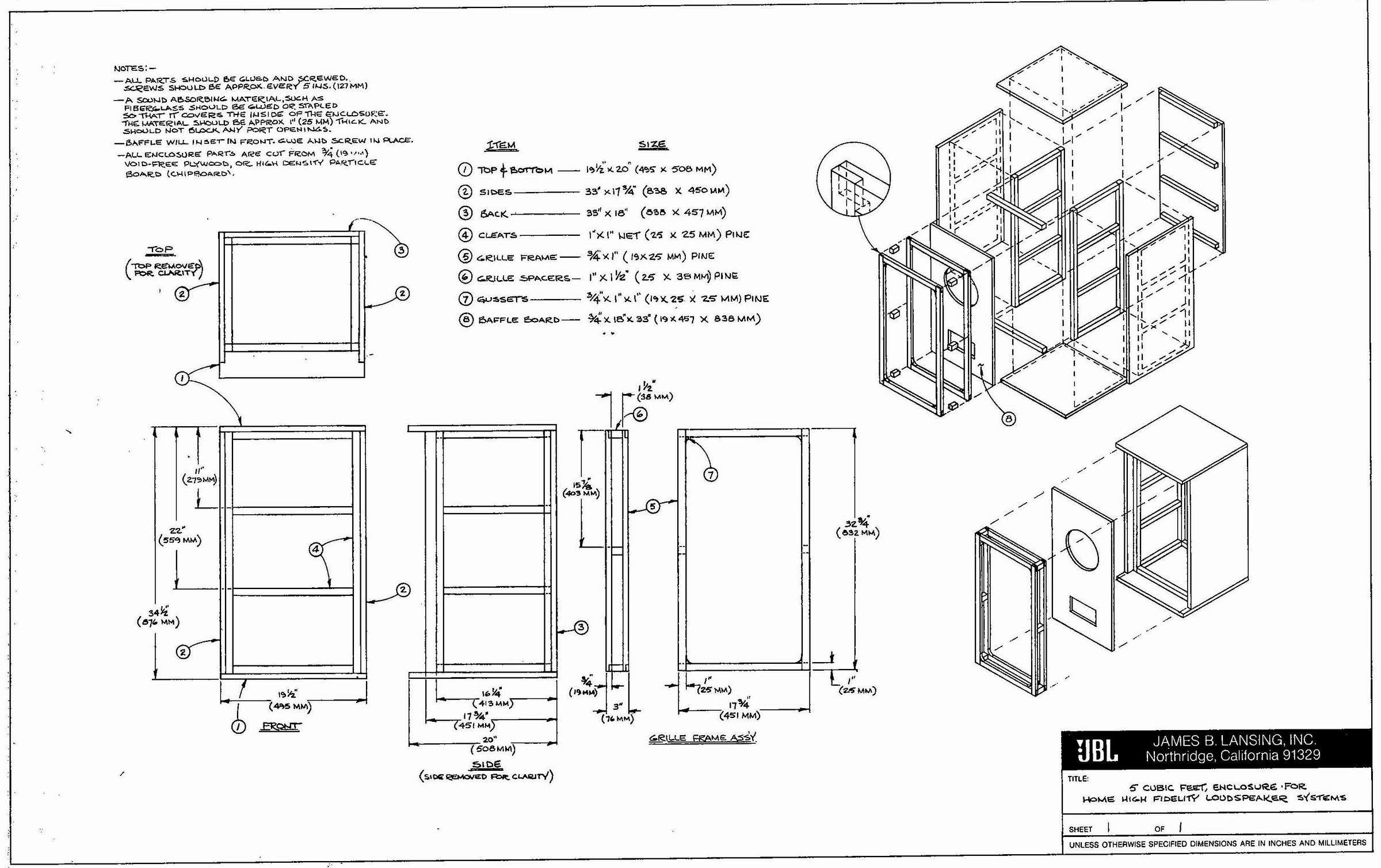 Vintage Jbl Cabinet Build Recommendations Diyaudio
