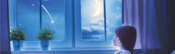 Girl looking out window at the moon