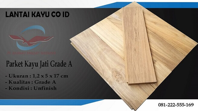 lantai kayu Jati Grade A ukuran 17 cm