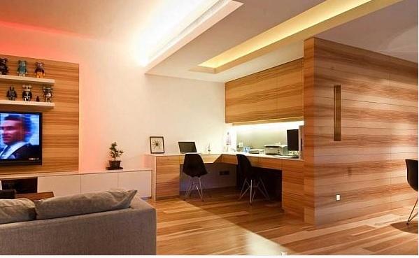 Kantor minimalis pakai lantai kayu