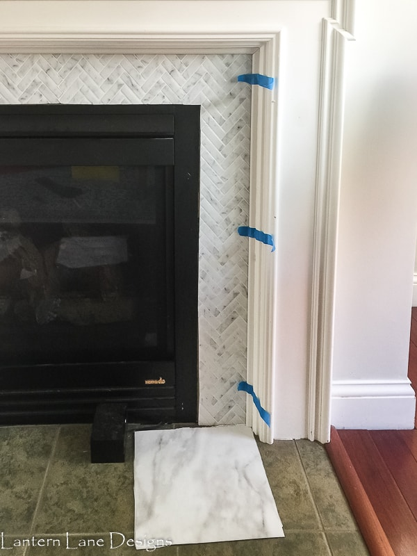 fireplace makeover using peel and stick
