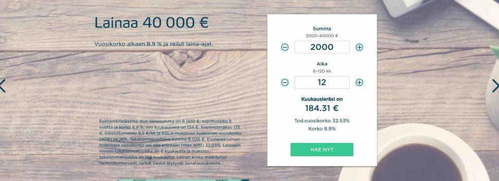 Bigbankin halvin 2000 € laina