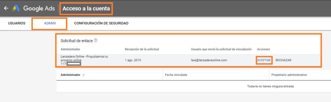 CUENTA MCC DE GOOGLE ADWORDS GOOGLE ADS añadir cuenta CLIENTE HERRAMIENTAS ACCESO A LA CUENTA ACEPTAR