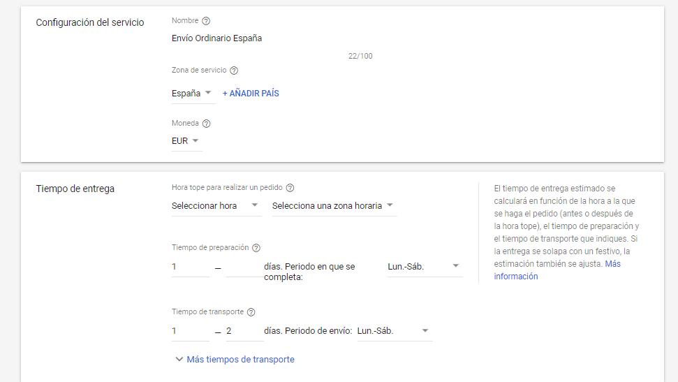como configurar gastos de envio en google merchant center