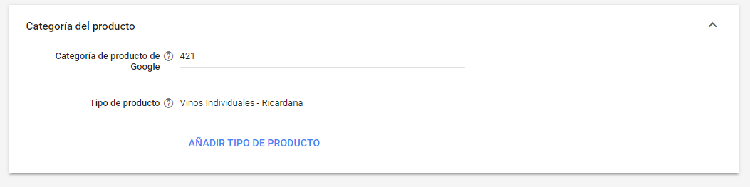 GOOGLE MERCHANT CENTER categoria de producto