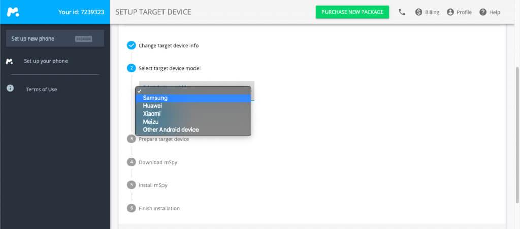mSpy setup target device