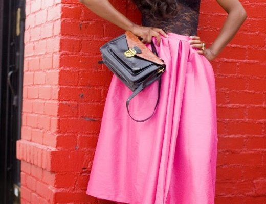 Full pink skirt outfit