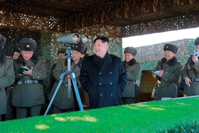 North Korean leader Kim Jong Un attends an intensive artillery drill of the KPA artillery units on the front in this image released by North Korea's Korean Central News Agency (KCNA) in Pyongyang December 2, 2016. KCNA/ via REUTERS ATTENTION EDITORS - THIS IMAGE WAS PROVIDED BY A THIRD PARTY. EDITORIAL USE ONLY. REUTERS IS UNABLE TO INDEPENDENTLY VERIFY THIS IMAGE. SOUTH KOREA OUT. NO THIRD PARTY SALES. NOT FOR USE BY REUTERS THIRD PARTY DISTRIBUTORS.