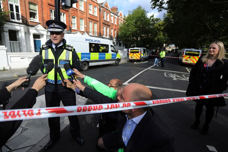 Deputy Chief Constable Adrian Hanstock of the British Transport Police makes a statement to the media after an incident at Parsons Green underground station in London, Britain, September 15, 2017. REUTERS/Luke MacGregor