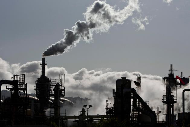 Smoke is released into the sky at the ConocoPhillips oil refinery in San Pedro in this file photo
